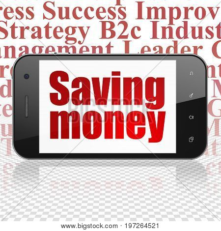 Business concept: Smartphone with  red text Saving Money on display,  Tag Cloud background, 3D rendering