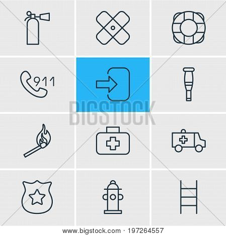 Editable Pack Of Adhesive, Fire, Water And Other Elements.  Vector Illustration Of 12 Necessity Icons.
