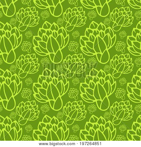 Seamless pattern with artichoke on green background