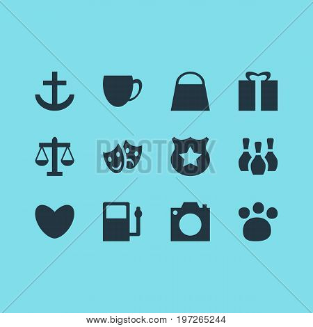 Editable Pack Of Scales, Present, Anchor And Other Elements.  Vector Illustration Of 12 Check-In Icons.