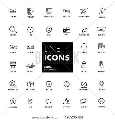 Line icons set. E-commerce pack. Vector illustration.