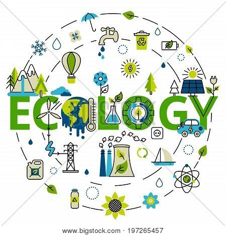 Green energy ecology problem and alternative fuel. For info graphics and graphic design. Colorful vector illustration in modern flat line style ecology concept horizontal web banner.