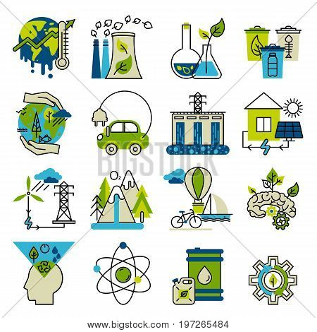 Green energy go green alternative fuel. For info graphics and graphic design. Colorful vector illustration in modern flat line style ecology concept horizontal web banner