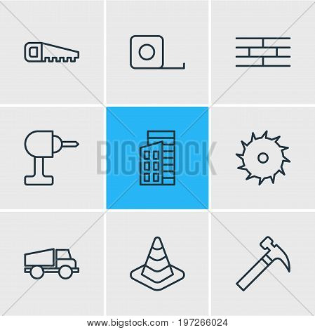 Editable Pack Of Barrier, Handle Hit, Hacksaw Elements.  Vector Illustration Of 9 Construction Icons.