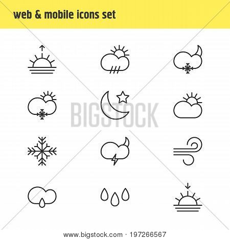 Editable Pack Of Breeze, Sunset, Sunrise And Other Elements.  Vector Illustration Of 12 Weather Icons.