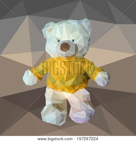 Plush bear in a yellow jacket. Teddy bear. Toy in a pullover