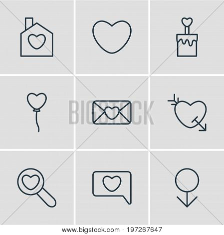 Editable Pack Of Male, Invitation, Magnifier And Other Elements.  Vector Illustration Of 9 Amour Icons.