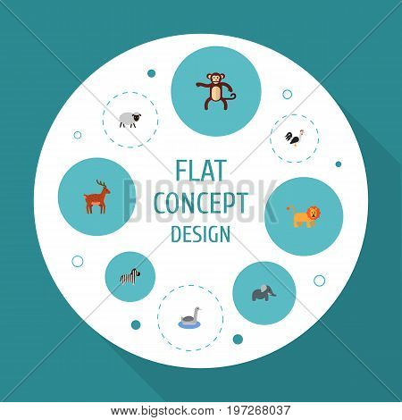 Flat Icons Waterbird, Moose, Horse And Other Vector Elements