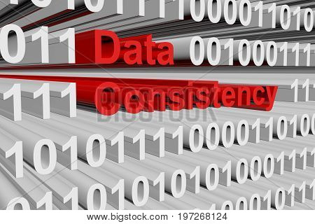 Data consistency in the form of binary code, 3D illustration