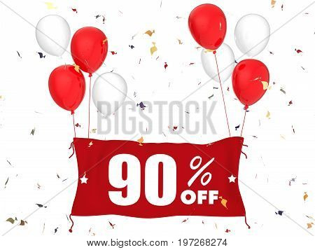 3d rendering 90% sale off banner on white background