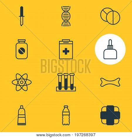 Editable Pack Of Genome, Pharmaceutical, Round Tablet And Other Elements.  Vector Illustration Of 12 Medical Icons.