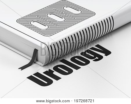 Medicine concept: closed book with Black Pills Blister icon and text Urology on floor, white background, 3D rendering