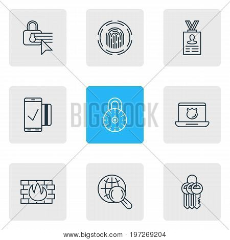 Editable Pack Of Account Data, Confidentiality Options, Finger Identifier And Other Elements.  Vector Illustration Of 9 Data Icons.