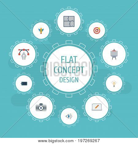 Flat Icons Wings, Gadget, Concept And Other Vector Elements