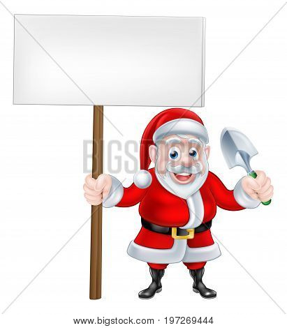 A Christmas cartoon of Santa Claus holding a sign and trowel spade