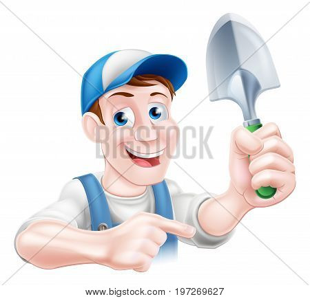 Happy cartoon gardener character in a cap and dungarees holding a garden trowel spade tool and pointing