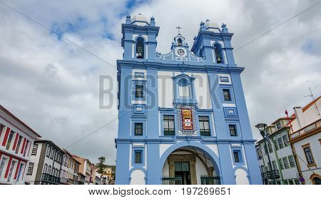 Wide angle view of blue facade church in Angra do Heroismo, Island of Terceira in Azores, Portugal