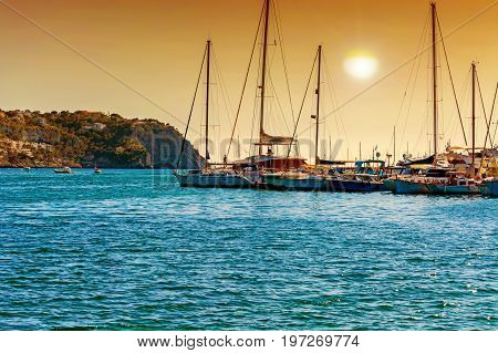 Sunset in the Bay of Port Andratx Mallorca Baleares Spain.