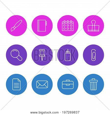 Editable Pack Of Pushpin, Date, Paperclip And Other Elements.  Vector Illustration Of 12 Instruments Icons.