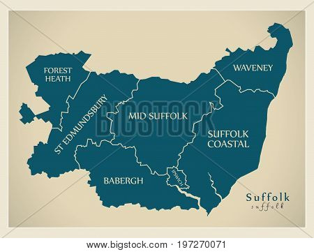 Modern Map - Suffolk County With District Captions England Uk Illustration