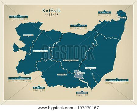 Modern Map - Suffolk County With District Labels England Uk Illustration