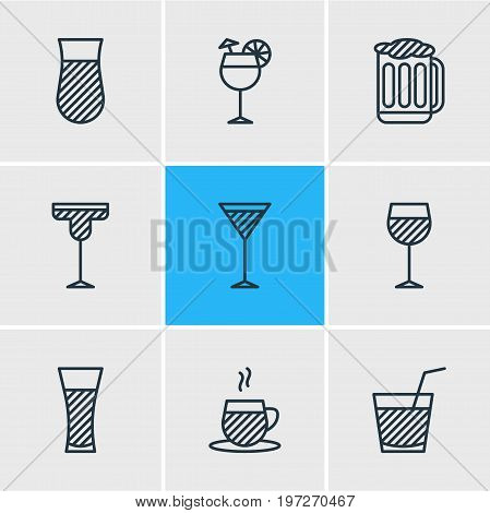 Editable Pack Of Draught, Lemonade, Drink And Other Elements.  Vector Illustration Of 9 Beverage Icons.