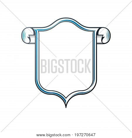Victorian art vector frame with blank copy space and cartouche vintage heraldic design. Heraldic template illustration mirror border decorative protection shield with rolled-up ends.