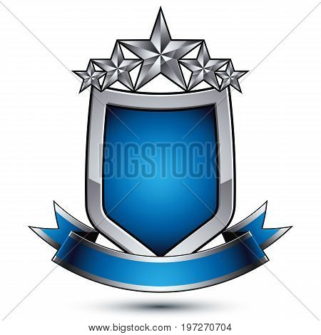 Vector stylized shield symbol isolated on white background. Glamorous silver star clear EPS 8 five stars insignia with a curvy band.
