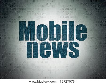 News concept: Painted blue word Mobile News on Digital Data Paper background
