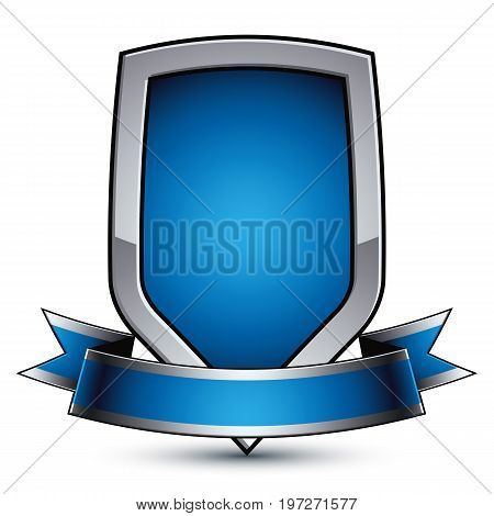 Vector stylized symbol isolated on white background. Glamorous silver object clear EPS 8 glossy shield with a ribbon.