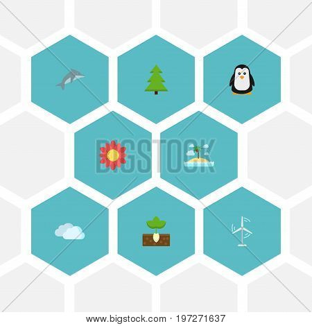 Flat Icons Emperor, Electric Mill, Playful Fish And Other Vector Elements