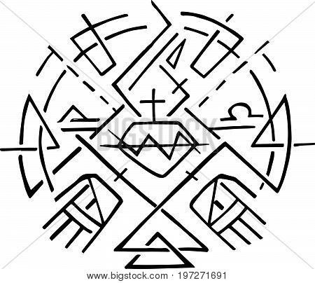 Hand drawn vector illustration or ink drawing of the Christian symbol of Christian symbol of Jesus Sacred Heart and Hands