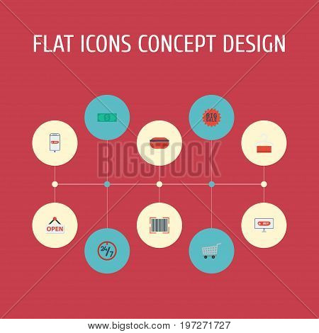 Flat Icons Sign, Payment, Cash And Other Vector Elements