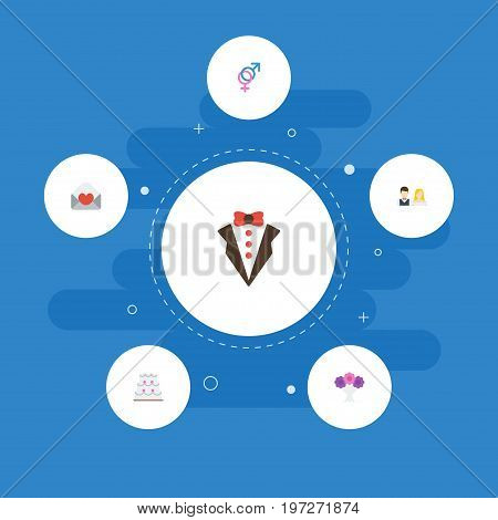 Flat Icons Sexuality Symbol, Posy, Bridegroom Dress And Other Vector Elements