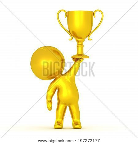 Golden 3D Character holding a gold first place trophy. Isolated on white.