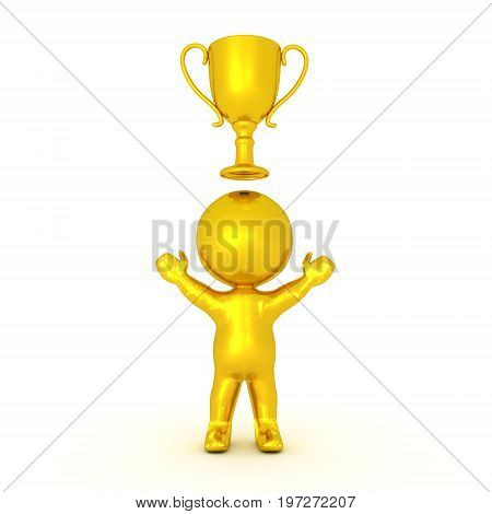 Golden 3D Character with gold trophy above him. Isolated on white.