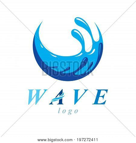 Pure water vector abstract sign for use as business emblem in spa and resort organizations. Environment conservation concept.