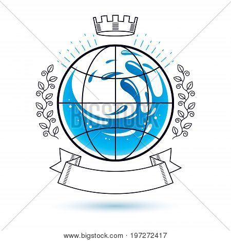 Ocean freshness theme vector logo. Save water advertisement. Environment conservation concept.