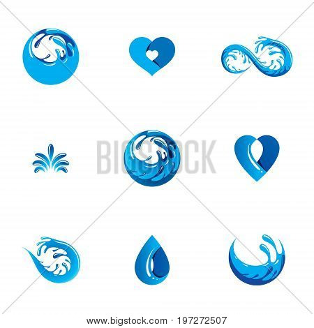 Sea wave splash vector logo. Pure water as the driving force for human activity theme. Body cleansing concept.
