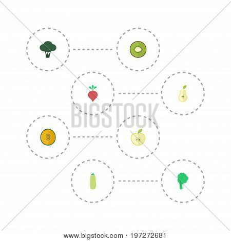 Flat Icons Jonagold, Cabbage, Duchess And Other Vector Elements