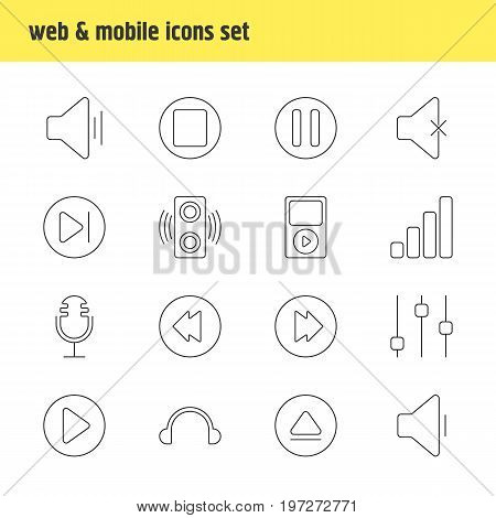 Editable Pack Of Subsequent, Rewind, Reversing And Other Elements.  Vector Illustration Of 16 Melody Icons.