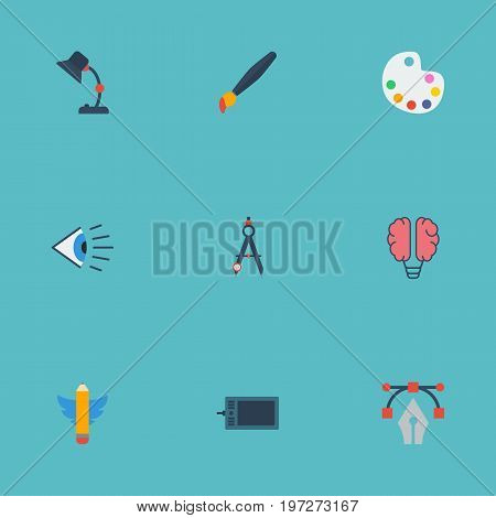 Flat Icons Eye, Bulb, Brush And Other Vector Elements