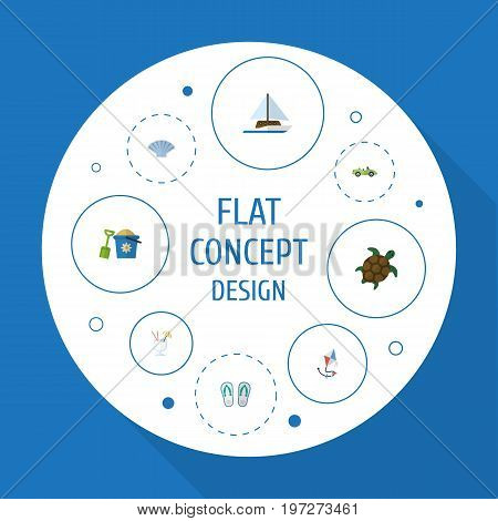 Flat Icons Conch, Sailboard, Car And Other Vector Elements
