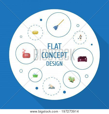 Flat Icons Besom, Sofa, Gauntlet And Other Vector Elements