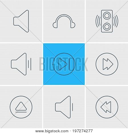 Editable Pack Of Subsequent, Amplifier, Decrease Sound And Other Elements.  Vector Illustration Of 9 Music Icons.