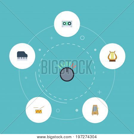 Flat Icons Knob, Tape, Tambourine And Other Vector Elements