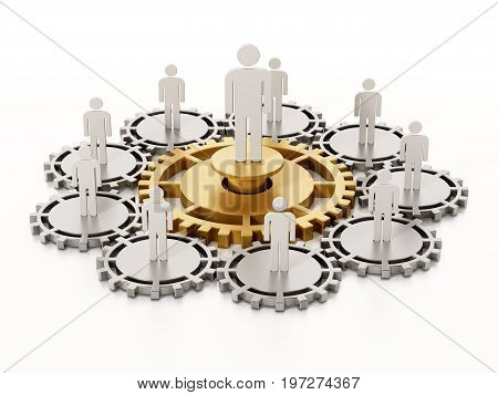 People standing on connected gears with one big red cog in the middle. 3D illustration.