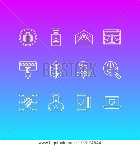 Editable Pack Of Internet Surfing, Finger Identifier, Encoder And Other Elements.  Vector Illustration Of 12 Security Icons.