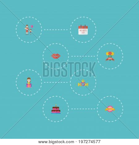 Happy Mother's Day Flat Icon Layout Design With Tulips, Woman And Pastry Symbols