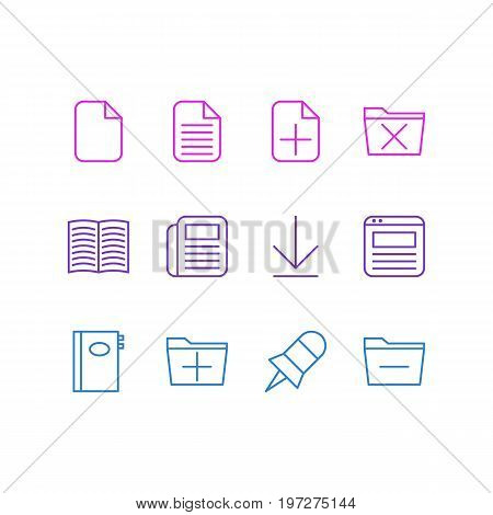 Editable Pack Of Add, Textbook, Note And Other Elements.  Vector Illustration Of 12 Bureau Icons.